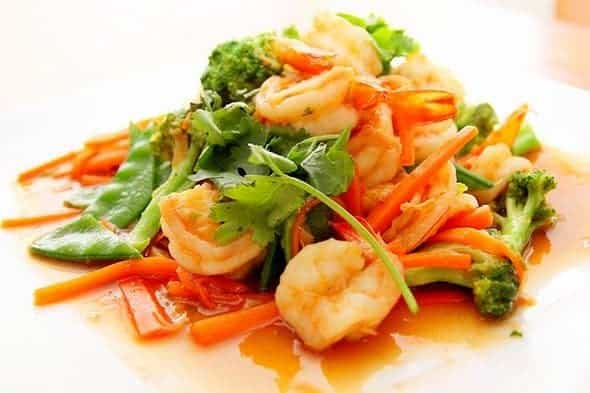 Asian inspired wild caught american shrimp broccoli and carrot sensation with a special glaze